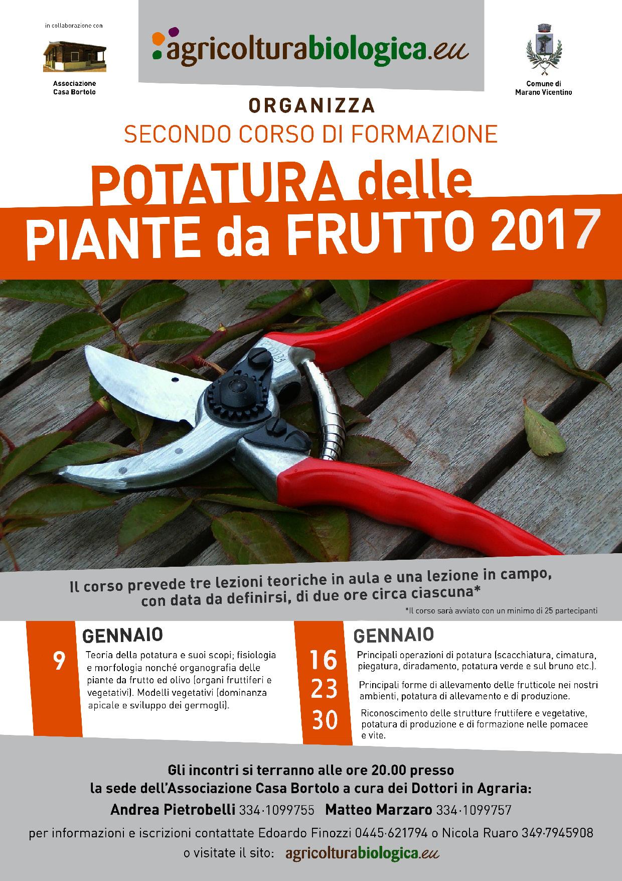 Corso di potatura delle piante da frutto 2017 marano for Potatura piante da frutto